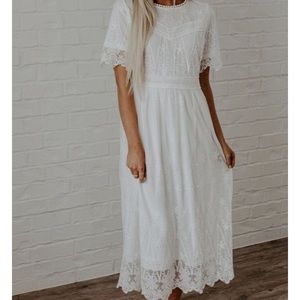 White Lace Midi A-Line Dress